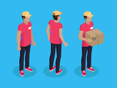 Delivery Man with Parcel Set Vector Illustration