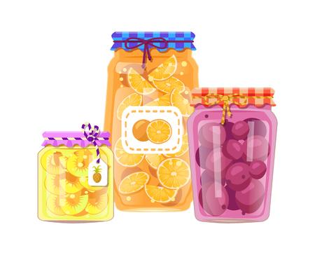 Pineapple and Peach Jam Set Vector Illustration