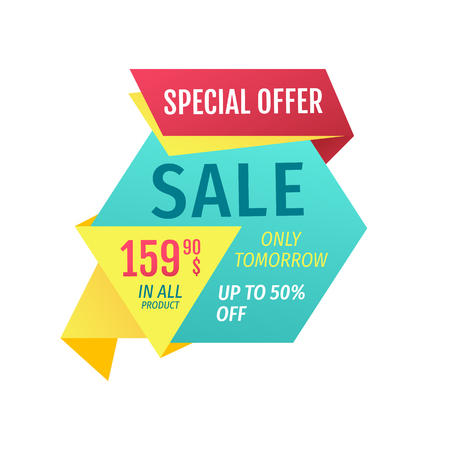 Special offer for customers promotion vector poster. Only tomorrow sale in all products offer on hexagon figure for shop discount advertisement.
