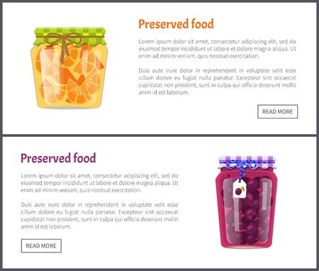 Preserved food posters set with text sample. Jars with plum jam and orange conserved slices. Conservation of fruits homemade production in pots vector