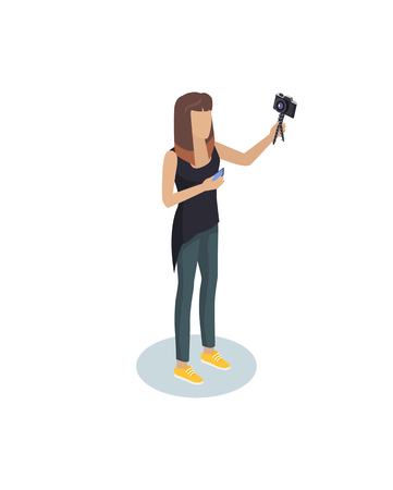Vloger or blogger hipster girl with modern camera and smartphone devices in hands. Photography profession or hobby vector isometric person isolated Illustration