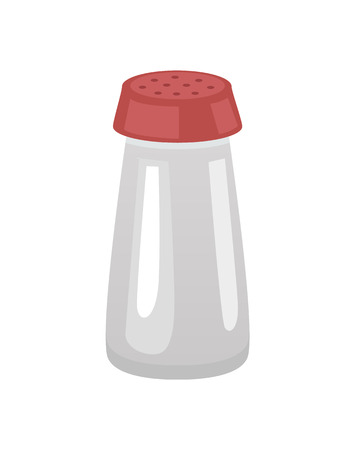 Saltshaker salt in container with holes on top. Glass bottle with flavor, for food dishes. Cooking ingredient kitchen condiment isolated on vector