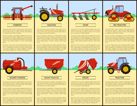Agricultural Machinery Set, Cartoon Vector Banner Imagens - 112716597