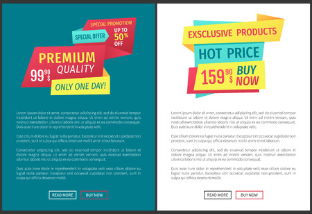 Hot price super sale poster with article sample. Exclusive products only one day buy now goods guarantee natural production. Special promotion vector 일러스트