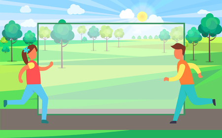 Runner male and female in countryside. People keeping fit running in rural area and improving health. Filling form for text and trees fields sky vector