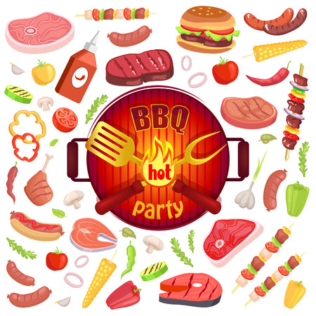 BBQ party icons set meat veggies vector. Hamburger with bun and ham, roast beef and vegetables. Sauce ketchup in plastci bottle and brochette satay 일러스트