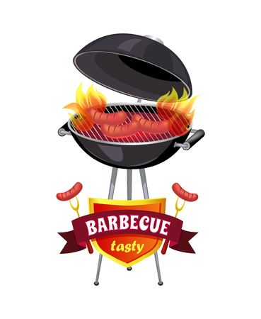 Barbecue tasty brazier with sausages isolated icons set vector. Cookout mangal and roasting frankfurters on fire. Barbecuing party on shield emblem