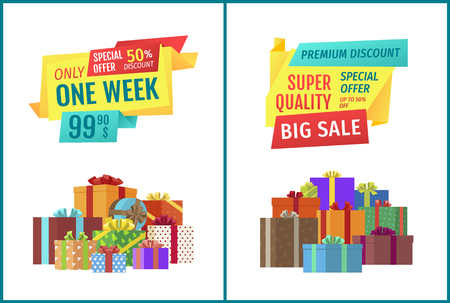 Only one week big sale special super discount from shop. Containers wrapped with decorative paper and bows. Gifts and presents best choice set vector