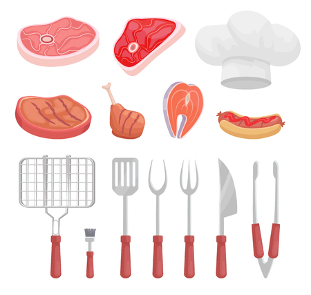 BBQ set, barbecue tools, meat vector icon. Beef and fish steak, hot dog, chicken and knife, fork and spatula, grille and brush, forceps and headpiece Illusztráció