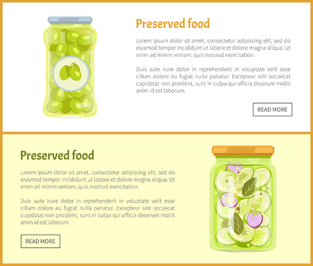 Preserved food posters set with text canned jars with vegetables. Pickled olives with sticker on bottle. Zucchini with onion slices and leaves vector