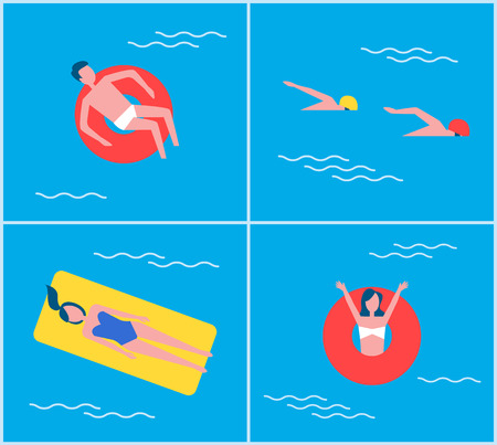 Cartoon style people on vacation swimming in pool relaxing. People on mattress lifebuoy lifeline summertime recreating set professional swimmers vector