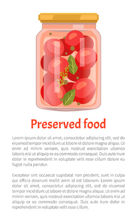 Preserved food tomatoes and dill with leaves in bottle closed with cap. Conserved red vegetables with salty taste. Products canning for winter vector Ilustração