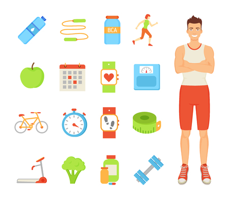 Man healthy lifestyle of male, isolated icons set vector. Water in bottle, calendar and wristband fitness watch with heart rate and steps indicator