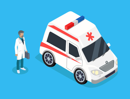 Paramedic with Medicine Kit and Ambulance Car Illustration