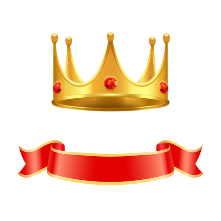 Golden Crown with Ruby Gem and Silk Curl Ribbon Illustration