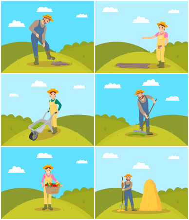 Farmer agricultural activities set vector. Male working with rake and shovel digging soil. Woman sowing seeds taken from bag and harvesting vegetables Çizim