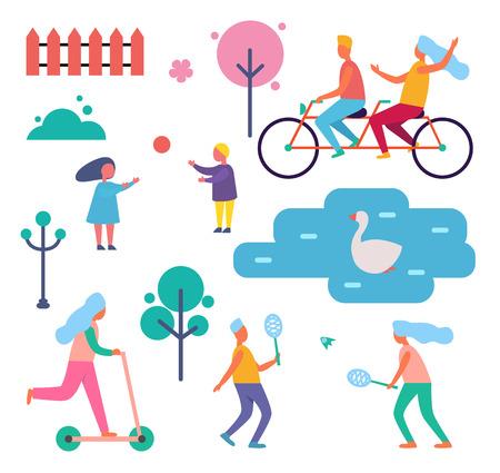 People Walking in Park Among Trees Cartoon Badge