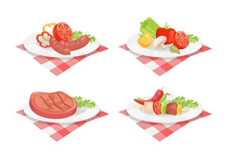 Beefsteak and Sausage on Plate Vector Illustration