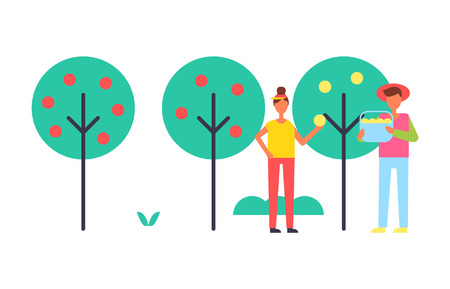 People Taking Care About Trees in Garden Icon