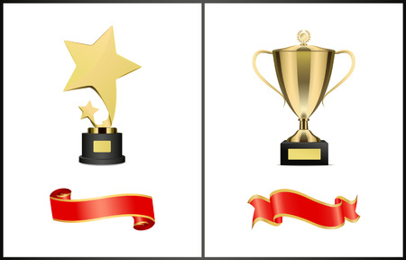 Trophies and Red Ribbons Set Vector Illustration Stock Photo