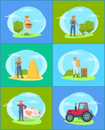 Farming Season People on Land vector Illustration Stockfoto