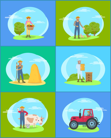 Farming Season People on Land vector Illustration Imagens