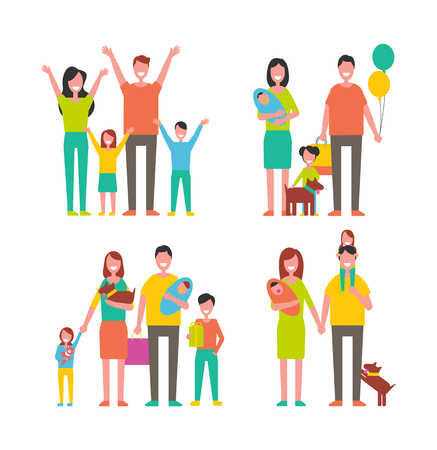 Family Members Cartoon Characters Walking Together Stock Photo