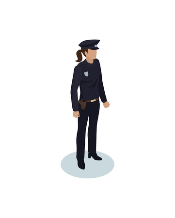 Police Officer Woman Icon vector Illustration 스톡 콘텐츠