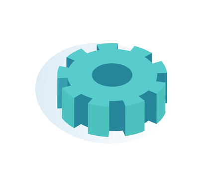 Gear mechanism isolated icon vector. Wheel cogwheel used in machinery, working process detail. Object made of metal, rounded shaped technical item Illustration
