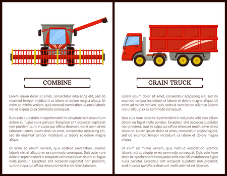 Agricultural machinery set cartoon vector banner. Grain truck with trailer and combine with wide reaper, isolated new equipment, farming technique Illusztráció