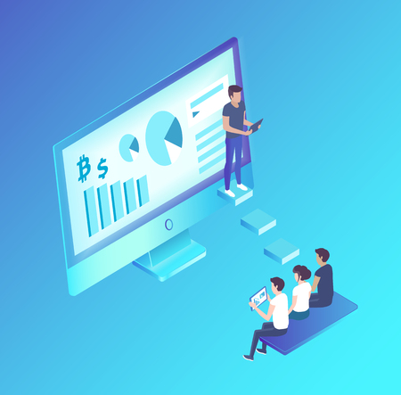 Computer monitor with information vector isolated isometric icon 3d. Presenter with diagrams charts explaining details to listeners workers on bench Stock Illustratie
