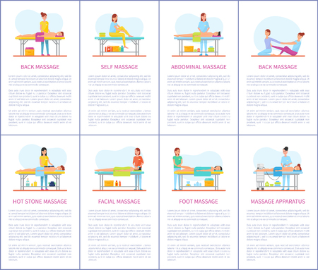 Facial and abdominal massage techniques. Self care, foot and belly treatment, apparatus machine skincare, Posters set with text and masseuses vector Illustration