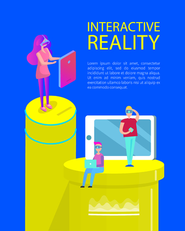 Interactive reality poster with text sample. Man and woman wearing vr glasses looking at screens displays of laptop. Mobile phone with button vector
