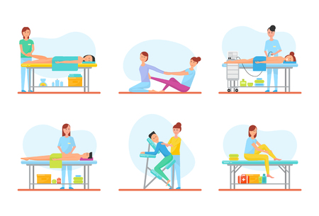 Massage methods used by masseuses, isolated icons set vector. Foot and back, abdominal belly treatment and self care. Apparatus machine and chair