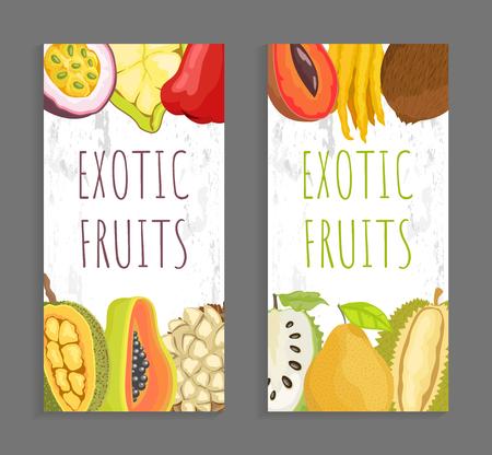 Mamey citron, sugar apple, pomelo and durian. Passion fruit, cupuacu, chompoo and jackfruit, papaya and marang tropical fruits on vector brochure leaflet 向量圖像