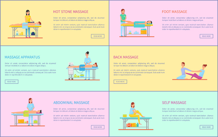 Hot stone and foot, facial and self massage techniques and methods. posters set with text sample, clients on tables and masseuses working above vector