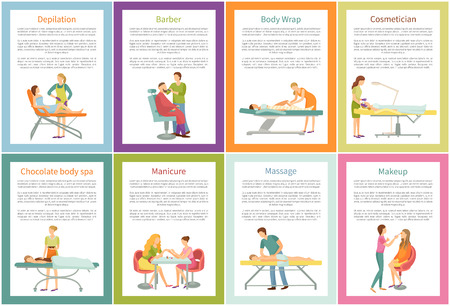 Depilation tanning, cosmetician facial procedures and hair styling. Posters set with text pedicure, pedicurist with client. Professional care vector