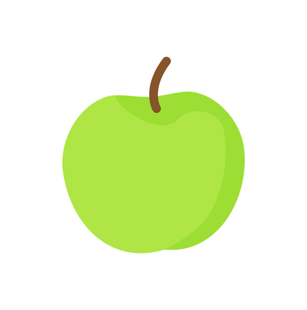Apple green ripe fruit isolated icon vector. Fruitage product for healthy lifestyle containing vitamins and nutrients. Nutritious eating for people
