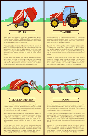 Tractor and trailed sprayer agricultural machinery set of posters. Plough plow and tractor driving on green field. Bale stacker baler device vector