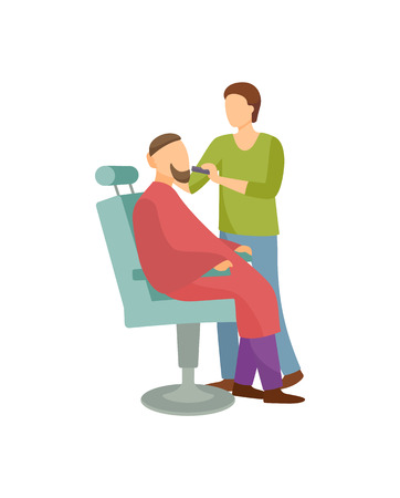 Procedure for men in barber shop cartoon banner isolated vector. Hairdresser shaving bearded client sitting in armchair covered by cloth, hipster man salon