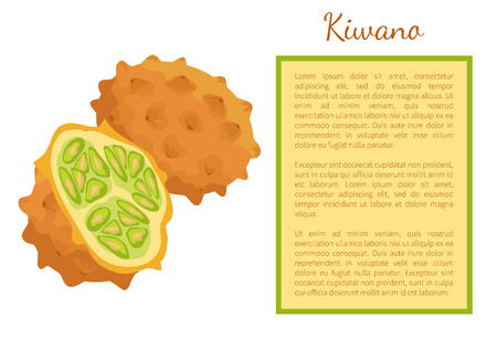 Kiwano exotic juicy fruit whole and cut vector poster frame for text. African horned cucumber or jelly melon, hedged gourd, melano. Tropical edible food