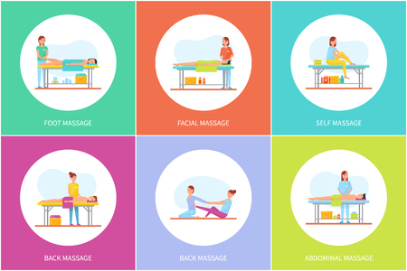 Foot facial and self massage, icons set vector. Masseuses using lotions and creams, aroma candles to treat clients. Abdominal massaging therapy care Ilustração