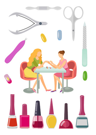 Spa salon manicure manicurist and tools for nail polishing service. Gels bottles with brushes, cuticle pusher and cutter, nipper and scissors vector