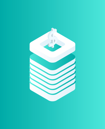 Blockchain dollar on top of pedestal isolated icon isometric 3d vector. Cryptocurrency and American currency, money and finance investments mining 向量圖像