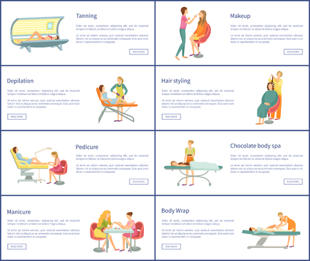 Makeup and barber hair styling posters set with text sample vector. professional people working in beauty industry with clients. Cosmetician procedure