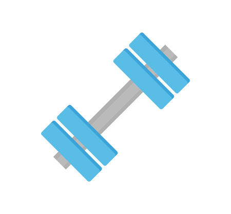 Dumbbells sports equipment isolated icon weightlifting vector. Workout objects made of metal material or steel. Athletic items for strength increasing Stock Vector - 127420472