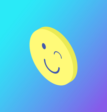 Emoji winking yellow face isolated icon vector. Rounded head with closed eye and smile, emotion expression by symbols and smileys. Blinking emoticon