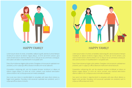 Happy family posters set with text sample and cheerful people. Husband and wife with kid. Daughter holding balloons, father with dog on leash vector
