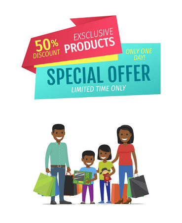 Special offer vector banner with people shopping. Exclusive products, limited time only one day promotion, happy family with packages and purchases Stock Illustratie