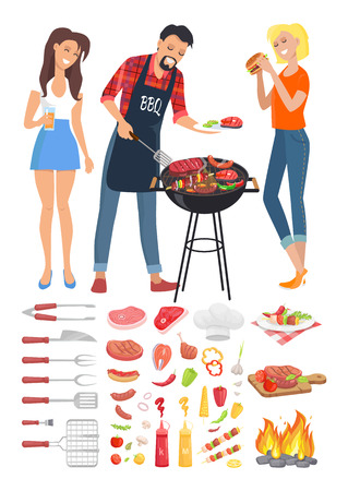 BBQ Barbecue Party People Icon Vector Illustration Vettoriali
